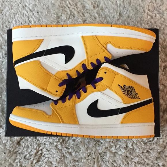 25f73d025b8 Nike Shoes | Jordan 1 Mid Se Lakers 852542700 Yellow Toe | Poshmark